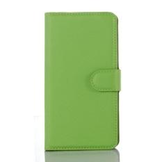 Flip Leather Case Dibangun Di Slot Kartu untuk Microsoft Lumia 950 Hijau-Internasional