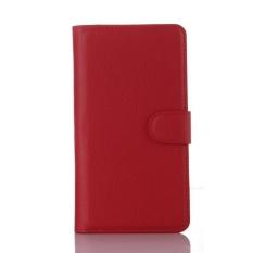 Flip Leather Case Dibangun Di Slot Kartu untuk Microsoft Lumia 950 Merah-Internasional