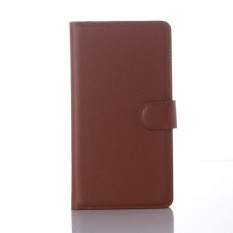 Flip Leather Case Dibangun Di Slot Kartu untuk Microsoft Lumia 950XL Brown-Intl