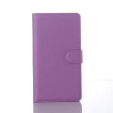 Flip Leather Case Dibangun Di Slot Kartu untuk Microsoft Lumia 950XL Ungu-Intl