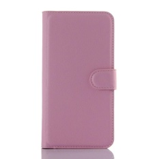 Flip Leather Case Dibangun Di Slot Kartu untuk ZTE AXON Lux Pink-Intl