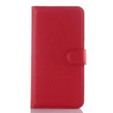 Flip Leather Case Dibangun Di Slot Kartu untuk ZTE AXON Lux Red-Intl