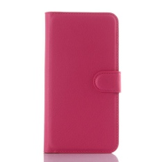 Flip Leather Case Built In Card Slot For ZTE Axon Lux Rose Red - intl
