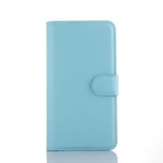 Flip Leather Case Dibangun Di Slot Kartu untuk ZTE Blade A460 Biru-Intl