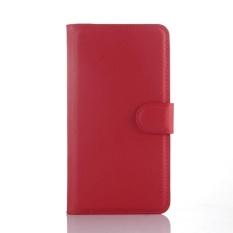 Flip Leather Case Dibangun Di Slot Kartu untuk ZTE Blade A460 Merah-Intl