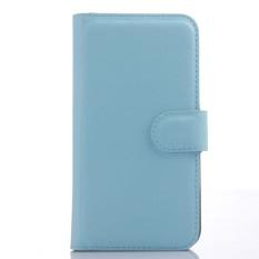 Flip Leather Case Dibangun Di Slot Kartu untuk ZTE Blade APEX 2 Biru-Intl