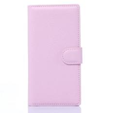 Flip Leather Case Dibangun Di Slot Kartu untuk ZTE Blade Vec 4 Pink-Intl