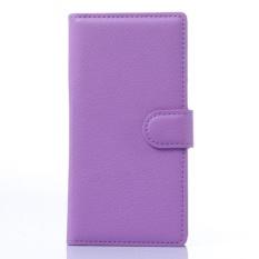 Flip Leather Case Built In Card Slot For ZTE Blade Vec 4 Purple - intl