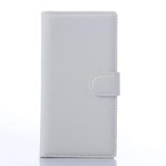 Flip Leather Case Dibangun Di Slot Kartu untuk ZTE Blade Vec 4 Putih-Intl