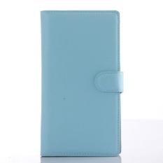 Flip Case Kulit Dibangun Di Slot Kartu untuk ZTE Grand X Max Biru-Intl