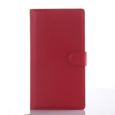 Flip Case Kulit Dibangun Di Slot Kartu untuk ZTE Grand X Max Merah-Intl