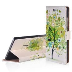 Flip Leather Case Cover untuk Acer Liquid X2 Hijau Pohon Pola Folio Stand Dompet Case