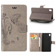 Flip Leather Case Cover untuk SONY Xperia M4 Aqua Dompet Pemegang Kartu Vintage Emboss Butterfly Kulit Stand Grey-Intl