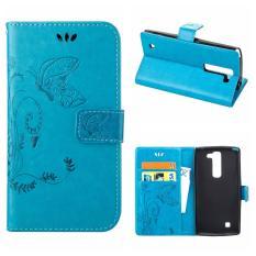 Flip Leather Case untuk LG G4c/LG G4 Mini/LG Volt 2/LG Magna Dompet Pemegang Kartu Vintage Emboss Butterfly Kulit Stand Cover Biru-Intl
