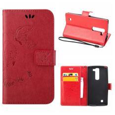 Flip Leather Case untuk LG G4c/LG G4 Mini/LG Volt 2/LG Magna Dompet Pemegang Kartu Vintage Emboss Butterfly Kulit Stand Cover Merah-Intl