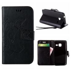 Flip Leather Case For Samsung Galaxy Trend Lite S7390 / Fresh S7392 Wallet Card Holder Vintage Emboss Butterfly Skin Stand Cover Black - intl