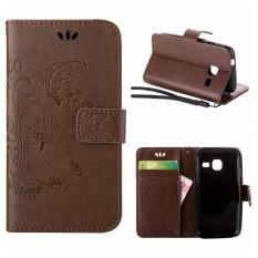 Flip Leather Case For Samsung Galaxy Trend Lite S7390 / Fresh S7392 Wallet Card Holder Vintage Emboss Butterfly Skin Stand Cover Brown - intl