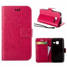 Flip Leather Case untuk Samsung GALAXY Trend Lite S7390/Segar S7392 Dompet Pemegang Kartu Vintage Emboss Butterfly Kulit Stand Cover Hotpink-Intl
