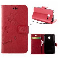 Flip Leather Case untuk Samsung GALAXY Trend Lite S7390/Segar S7392 Dompet Pemegang Kartu Vintage Emboss Butterfly Kulit Stand Penutup Merah-Internasional