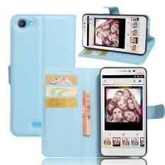 Flip Leather Wallet Cover Case For Alc atel Pixi 4 Plus Power (Blue) - intl