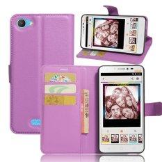 Flip Leather Wallet Cover Case For Alc atel Pixi 4 Plus Power (Purple) - intl