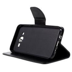 Flip Dompet Kulit Stand Case untuk Samsung Galaxy J5 SM-J500F-Hitam