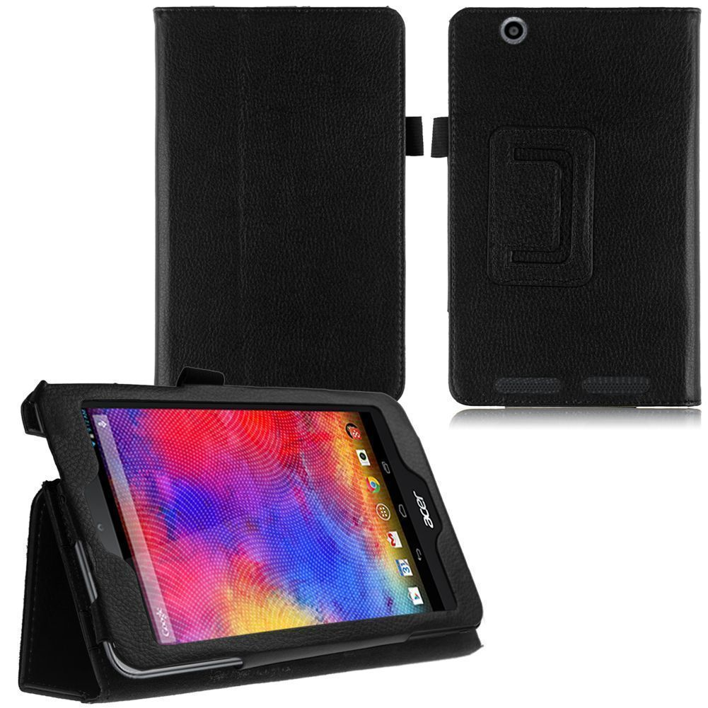 Flip PU Leather Folio Stand Cover For Acer Iconia One 7 B1-750 7 Tablet Black