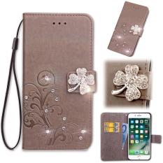 Flip Style Fashion Lucky Clover Pola (PU Kulit dan TPU) Stan Fungsi Pelindung Dompet Bling Phone Case untuk Acer Liquid Z6 (5.0 Cm)-Internasional