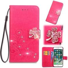 Flip Style Fashion Lucky Clover Pola (PU Kulit dan TPU) Stan Fungsi Pelindung Dompet Bling Phone Case untuk LG K3 (2017) (4.5 Cm)-Internasional