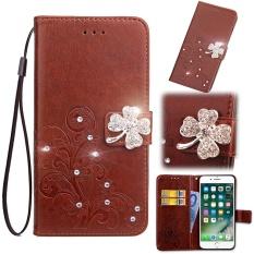 Flip Style Fashion Lucky Clover Pola (PU Kulit dan TPU) Stan Fungsi Pelindung Dompet Bling Phone Case untuk Vodafone Smart Platinum 7 (5.5 Cm)-Internasional