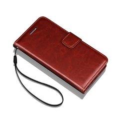 Flip Wallet Leather Case untuk Samsung Galaxy Note 4 Note4 N9100 dengan Kartu Slot Bingkai Foto Crazy Horse Stand Cover Telepon Klasik Bags-(Brown) -Intl