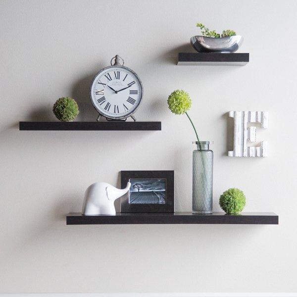 Floating Shelves/Ambalan/Rak Dinding/Dekorasi Rumah/Hiasan Dinding Set 3 Pcs [40/30/20cm] Promo - Hitam