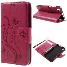 Floral Butterfly Leather Case Stand Pemegang Kartu untuk Lenovo S850 (Rose)-Intl