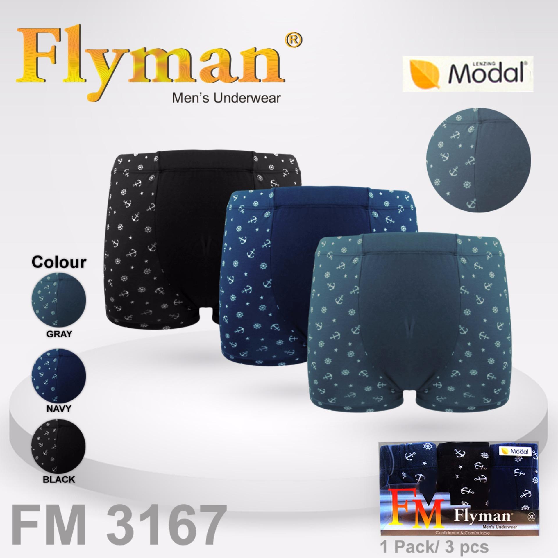 Spesifikasi Flyman Boxer Pria Dewasa 1 Pack 3 Pcs Fm 3167 Lengkap