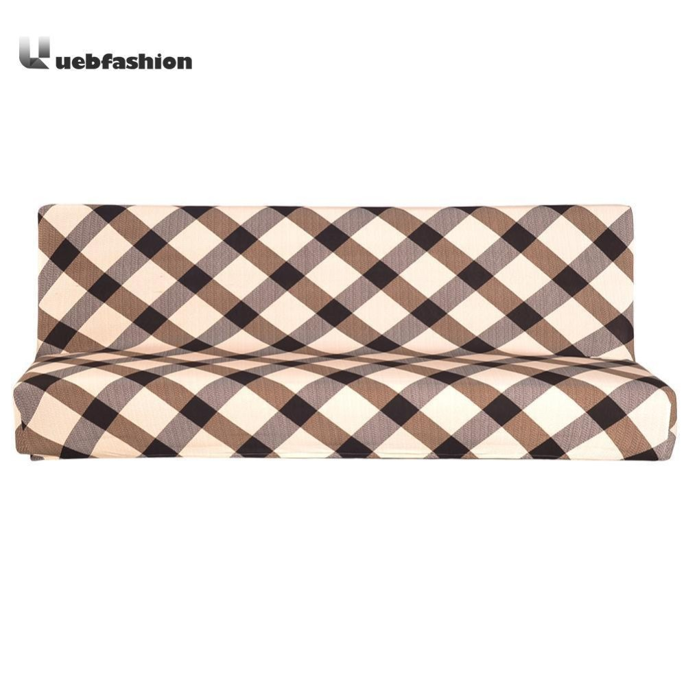 Fold Sofa Cover Elastic Plaid Couch Furniture Sofa Bed Cover(Coffee)-S -