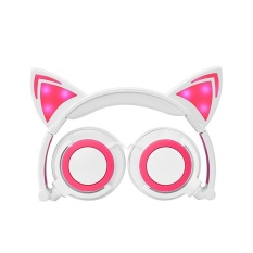 Foldable Flashing Glowing Cat Ear Headphones Gaming Headset Music Earphone with LED Light For PC Laptop Computer Mobile Phone - White + Pink - intl