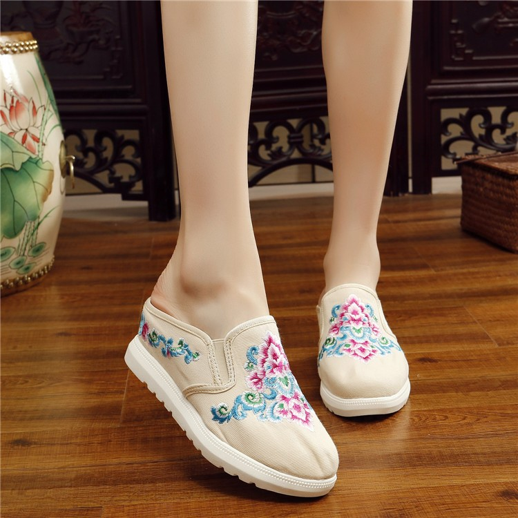 Jual Folk Style Slope With Thick Bottom Cloth Cloth Slippers Embroidered Shoes Canvas 2018 Summer Sandals Shoes A Costume Bag Mail Floral Fashionable Style Traditional Modernized Asian Culture Pure Cotton Lady Women G*rl Canvas Shoes Intl Oem Murah