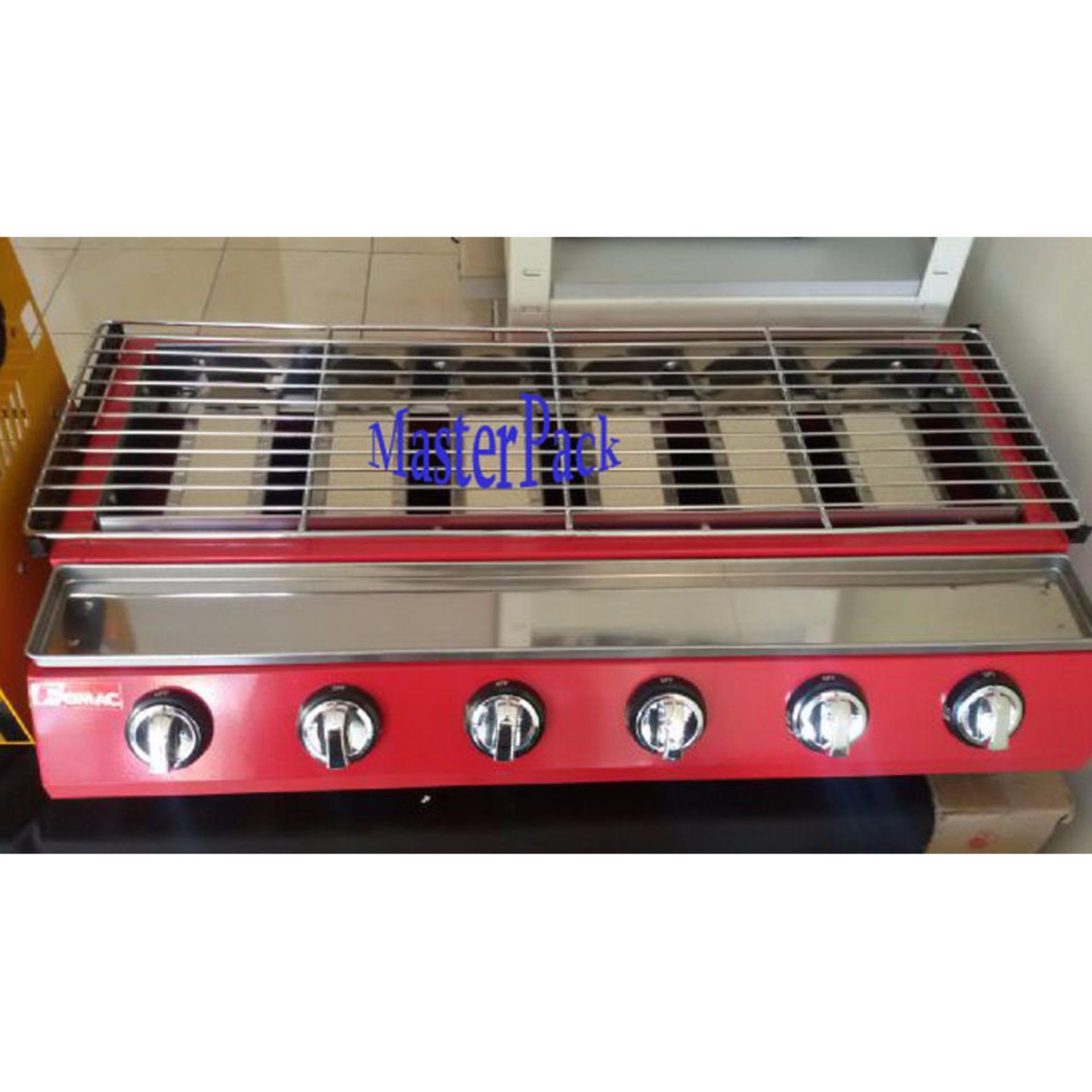 Fomac kompor panggangan tanpa asap 6 tungku ROS GK 233 (merah)