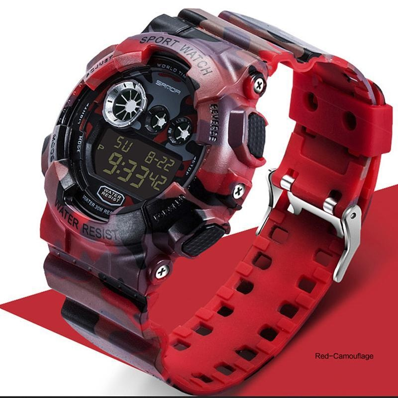 Foonovom Militer Watch Sport ARMY Kamuflase Mens Watches LED Digital-Watch S Shock Tahan Air Wrist Watches (Hijau) -Intl