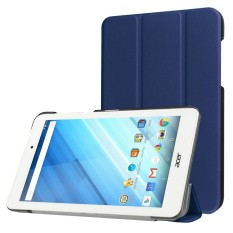 For Acer Iconia One 8 / B1-850 Custer Texture Horizontal Flip Solid Color Leather Case with Three-folding Holder(Dark Blue) - intl