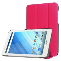 For Acer Iconia One 8 / B1-850 Custer Texture Horizontal Flip Solid Color Leather Case with Three-folding Holder(Magenta) - intl