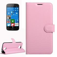 Untuk Acer Liquid Giok Primo 5.5 Inch & Liquid Giok 2 Lengkeng Tekstur Kulit Horisontal Lipat Case dengan Magnetik Gesper & Penahan & Slot Kartu & Dompet (Merah Muda) -Internasional