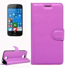 Untuk Acer Liquid Giok Primo 5.5 Inch & Liquid Giok 2 Lengkeng Tekstur Kulit Horisontal Lipat Case dengan Magnetik Gesper & Penahan & Slot Kartu & Dompet (Ungu) -Internasional