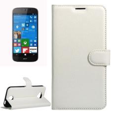 Untuk Acer Liquid Giok Primo 5.5 Inch & Liquid Giok 2 Lengkeng Tekstur Kulit Horisontal Lipat Case dengan Magnetik Gesper & Penahan & Slot Kartu & Dompet (Putih) -Internasional