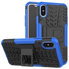 For Alcatel A3 Hyun Pattern Dual Layer Shockproof Kickstand Hybrid Armor 2 In 1 Cover (Blue) - intl