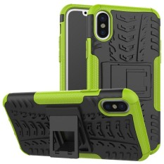 For Alcatel A3 Hyun Pattern Dual Layer Shockproof Kickstand Hybrid Armor 2 In 1 Cover (Green) - intl