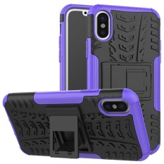For Alcatel A3 Hyun Pattern Dual Layer Shockproof Kickstand Hybrid Armor 2 In 1 Cover (Purple) - intl