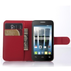 For Alcatel Evolve 2/OT4037 Flip Leather with Deluxe Credit Card Flip cover case phone case(Red) - intl