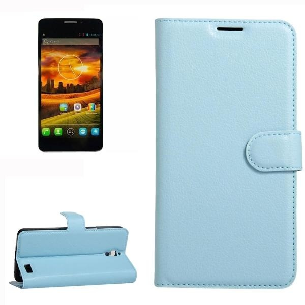 For Alcatel One Touch Idol X Litchi Texture Horizontal Flip Leather Case With Holder and Card Slots and Wallet (Blue)