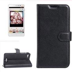 untuk Alcatel Pixi 4 PLUS Power Lengkeng Tekstur Case Kulit Horisontal Flip dengan Pemegang dan Slot Kartu dan Dompet (hitam) -Intl